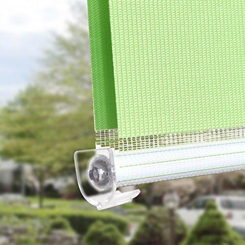 OBdeco Doppelrollo Klemmfix 100x150cm Grün Duo Rollo ohne Bohren mit Klemmträgern Fensterrollo - 5