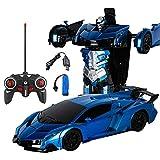 Womdee Robot di deformazione per bambini, trasformazione RC auto One Button deformazione in robot, telecomando auto trasformatore robot, giocattoli di deformazione trasforma auto r