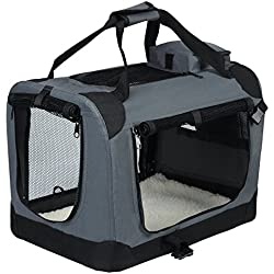 EUGAD 0112HT Cage de Transport en Oxford Sac de Transport Pliable pour Chien ou Chat,Gris 60x42x42cm