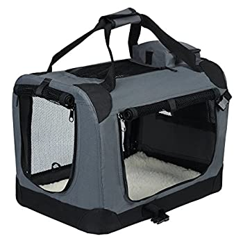 EUGAD 0106HT Cage de Transport en Oxford Sac de Transport Pliable pour Chien ou Chat,Gris 49,5x34,5x35cm
