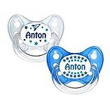 Dentistar® Silikon Schnuller 2er Set inkl. 2 Schutzkappen - Nuckel Größe 2, 6-14 Monate - zahnfreundlich und kiefergerecht   Anton