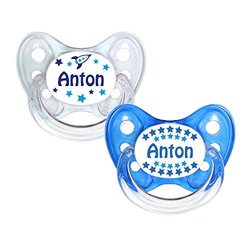 Dentistar® Silikon Schnuller 2er Set inkl. 2 Schutzkappen - Nuckel Größe 2, 6-14 Monate - zahnfreundlich und kiefergerecht | Anton