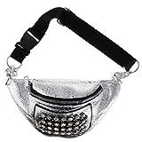 F Fityle Glänzend Damen Bauchtasche Strass Gürteltasche Hüfttasche Schultertasche Geldbeutel mit Reißverschluss - Silber