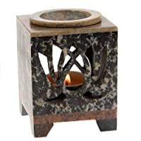 Bomzers Bargains Square Hand Carved Stone Floral Essential Oil Burner India Natural Colour Gift (Lotus)