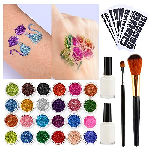 Tattoo-Kit,Temporäre Tattoos Make Up Glitzer Körper 24 Farben der Glitzer 118 Blatt Themed Tattoo Schablone Schminkset Glitzer für Kinder,Teenager,Erwachsene (Für Make-up-kits Halloween)