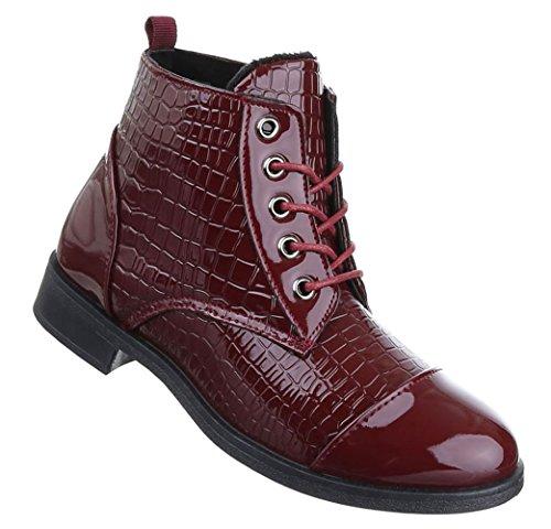 Damen Boots Schuhe Schnür Stiefeletten Schwarz Rot 36 37 38 39 40 41 Weinrot