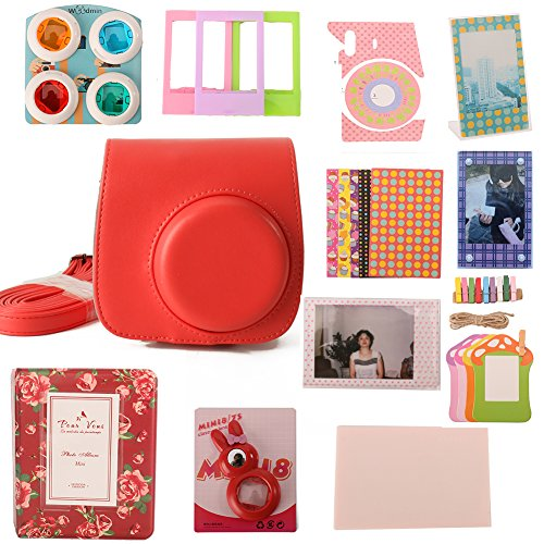Woodmin 12-in-1 Accessori Bundle Set per Fujifilm Instax Mini fotocamera da 8 Rosso (Mini 8 caso / Foto Bag / album / Frames / Adesivi / selfie-Lens / Filtri)