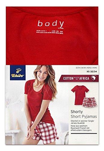 TCM Tchibo Shorty Set Pyjama Schlafanzug Rot-kariert (36/38 S)