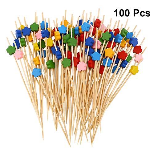Besonzon Cocktail-Stäbchen aus Bambus, mit Blumen, Einweg, für Lebensmittel/Appetizer, gemischt, 100 Stück