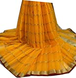 Bollywood Indian Traditional Collection Party Wear Saree Sari,Function, Karneval, Birthday Dress, Geburtstag, Indische Kleid,Hippie Kleid - Yellow and golden Border