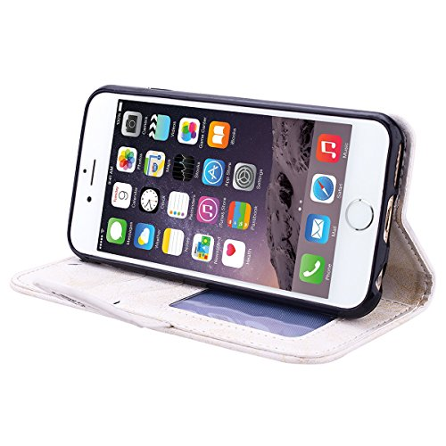 HB-Int 3 en 1 Bleu PU Cuir Housse Etui pour Apple iPhone SE / 5 / 5S Coeur Fleur Motif Coque Protecteur Stand Fonction Couverture Flip Wallet Cover Case Card Slots Book Style Coque Magnétique avec Lan Blanc