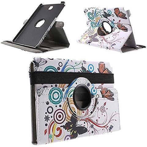 MTP Samsung Galaxy Tab A 8.0 T350 Custodia Girevole, Cover, Custodia rigida integrata, Bookstyle Book Case, Con Funzione Sostegno - Motivo Farfalle / Cerchio - Farfalla Del Cerchio