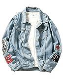 ShiFan Herren Oversize Jeansjacke Übergangsjacke Leichte Denim Jacket Große Größen Blau 2XL