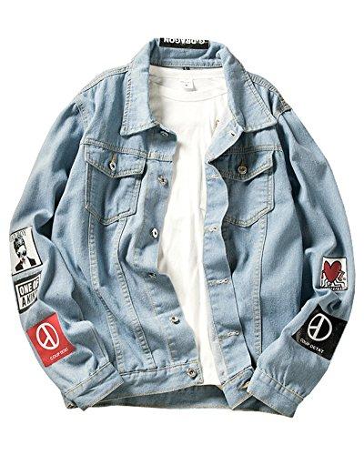 ShiFan Herren Oversize Jeansjacke Übergangsjacke Leichte Denim Jacket Große Größen Blau L