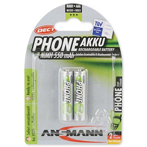 Ansmann 5035523 - Pila maxE previamente cargada, teléfono inalámbrico, tipo 550mAh, reducida autodescarga, Micro AAA, 2 unidades
