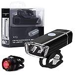 Vivibel LED Fahrradlichter set | StVZO (K847) | USB Schnelles Laden IPX4 wasserdicht Front- und Rücklicht Fahrradbeleuchtung Energiesparend und Stoßfest Helle LED Fahrradlampen[Modell MC-QD001]
