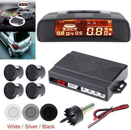 EpathChina Universal Auto Monitor Parksensor Kit Auto Radar Detector 4 Sensoren Alarm Indikator Rückfahrradarsystem Full Digital Distance LCD Display (weiß)