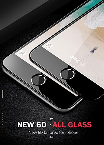 Case Trade 6D Anti Scratch Curved 9H Full Screen Tempered Glass Protector for Apple iPhone 6 / 6S (Black)