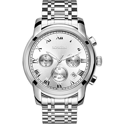 SONGDU-Herren-Armbanduhr-Quarz-Unisex-mit-Edelstahl-Armband-Chronograph-Analog-Kalender-Datum-Display-Leuchtende-Silber-Zifferblatt