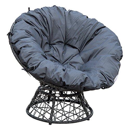 Outsunny Papasansessel Korbsessel Sessel mit Polster 360 Grad Rattan Schwarz B97xT87xH90cm