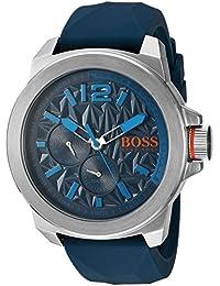 BOSS Naranja Hombre Cuarzo Acero Inoxidable y Silicona Reloj Automático, color: azul (modelo: 1513376)
