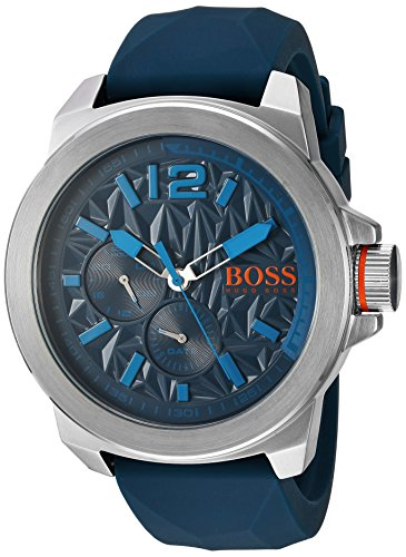 BOSS Orange Men's Quartz Stainless Steel and Silicone Automatic Watch, Color Blue (Model: 1513376)
