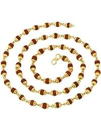 Purplestones 24K Yellow Gold Plated Copper 27 Inch Rudraksha Mala for Men and Women