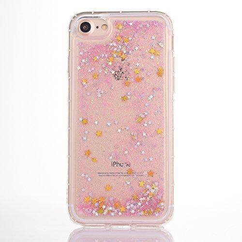 iPhone 7 Hülle, Voguecase Anti-Fall-Treibsand Silikon Schutzhülle / Case / Cover / Hülle / TPU Gel Skin für Apple iPhone 7/iPhone 8 4.7(Star/Rose Gold) + Gratis Universal Eingabestift Star/Pink