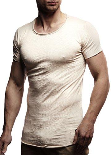 LEIF NELSON Men's Oversized Long Sleeve T-Shirt Sweatshirt LN6281; Size M, Beige