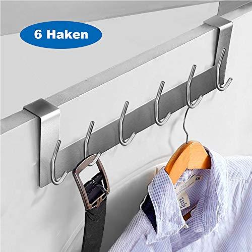 Ecooe Türhängeleiste Türgarderobe Edelstahl Abnehmbar Kleiderhaken ohne Bohren mit 6 Haken Hakenleiste für Türfalzstärken bis 2cm -