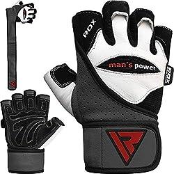 RDX Gants de Musculation Poignet Workout Gymnastique Fitness Entrainement Cuir Powerlifter Gym Gloves Perméable à l'air Halterophilie