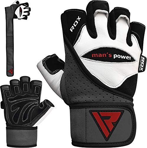 0ee8cfe1e159 Rdx Men S Weight Lifting Leather Gym Gloves Cross Training Bodybuilding Fitness  Workout White Medium
