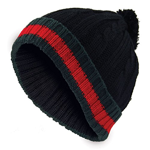 Berretto di lana invernale da uomo in maglia con risvolto a righe Black  Taglia unica 02808c14c41e