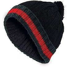 56b22d483b30 Nouveau chapeau Bobble Hommes chapeau en laine Woolly designer hiver dénudé  câble ...