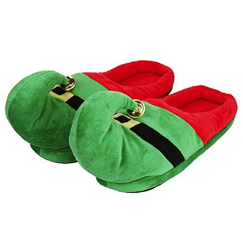 LoveLeiter Unisex Plüsch Baumwolle Haus Hausschuhe Winter Warm Indoor Weihnachten Hausschuhe Schuhe Kindergeschenk lustige Weihnachten Mädchen Junge Kreatives Geschenk Neuheit (Grün,M)