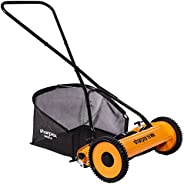 Sharpex Push Manual Lawn Mower with Grass Catcher | Classic Push Reel Lawn Mower | 16-Inch Reel Lawn Mower with Grass Catche