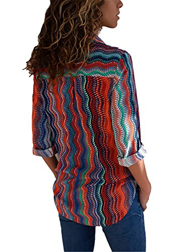 FIYOTE Womens V Neck Long Sleeve Button up Color Block Stripes Casual Blouse Tops