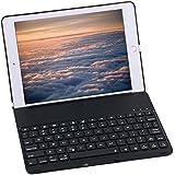 Bluetooth Keyboard Case For 2017 New iPad 9.7 inch , Durwyn® LED 7 Colors Backlit Wireless Bluetooth Keyboard , Back Hard Folio Case Cover , Ultra Slim ,Aluminium Alloy And Auto Sleep / Wake ( Black )