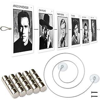 LeTOMA - Fotoseil 200 cm mit 20 extrem starken Neodym Magneten und Saugnäpfen - Extra starkes Magnetseil garantiert besten Halt für Fotos und Postkarten - Hält auch an Fenstern - Bilderseil, Fotodraht