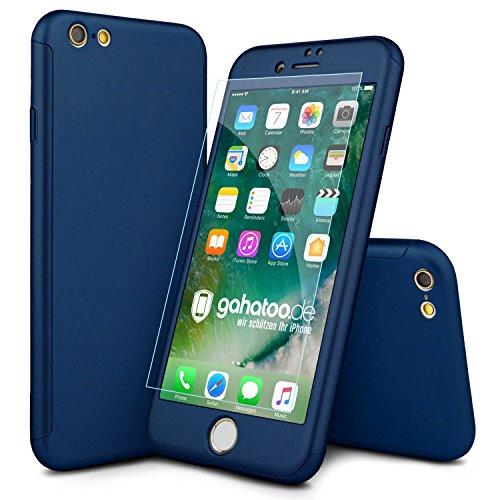 CASYLT [kompatibel für iPhone 6 / 6s] Hülle 360 Grad Fullbody Case [inkl. 2X Panzerglas] Premium Komplettschutz Handyhülle Blau