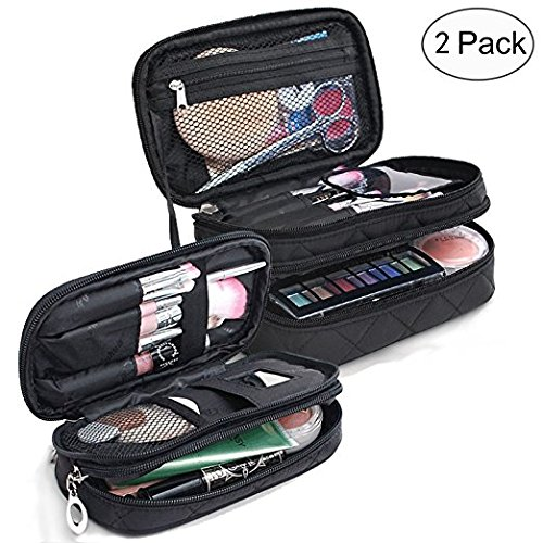 (C:S+M) - GOURDOLL Makeup Bag Portable 2 layer Cosmetic Pouch Organiser Preminm Make up Case with Carry Handle for Travel (C:s+m)