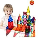Bloques de construcción magnéticos 3D 82 Piezas, Azulejos de construcción con folleto de guía y Caja de Almacenamiento, Juguetes de construcción de Juguetes para niños Mayores de 3 años (82 pcs)