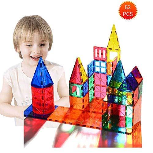 3D Magnetic Building Blocks 82 PCS, Piastrelle di Costruzione con Libretto di Guida e Scatola di immagazzinaggio, Kit di Costruzione di edifici Giocattoli per Bambini di età Superiore a 3 Anni