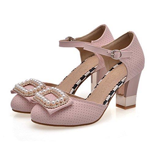 AllhqFashion Damen Hoher Absatz Eingelegt Schnalle Rund Zehe Pumps Schuhe Pink