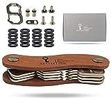 KEYTEC, Schlüsselorganizer / Schlüsselhalter, kompakt, umweltfreundlich, aus Holz, für 12 Schlüssel, mit Geschenkbox, Erweiterungsset und Haken inklusive