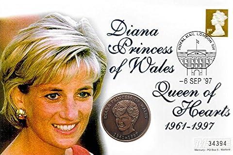 First Day Münze Cover - Prinzessin Diana von Wales UNC einzelne Münze in Postal Abdeckung / Großbritannien / 1997