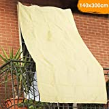 BAKAJI 2832433 Telo Parasole in Hdpe Resistente, Protezione UV 90% per Balcone e Veranda con Anelli di Aggancio Beige, 140 x 300 cm
