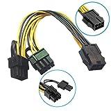 R01 18cm 6pin PCIe auf 2x 8pin (6+2) Grafikkarte Stromkabel PCI-Express Adapter, PCI-E 6-polig, 2x 6+2-Pin (6-Pin/8-Pin) Power-Splitter-Kabel, 6-Pin PCIe weiblich auf 2x 6+2-Pin PCIe männlich, 18cm Kabellänge