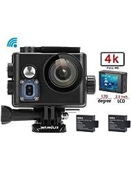 WiMiUS 4K Action Kamera WIFI Action Cam HD Actioncam 1080P 16MP Sport Kamera 40M Wasserdichte Helmkamera mit 2 Akkus(Q6)