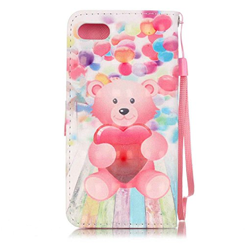 C-Super Mall-UK Apple iPhone 7 custodia,squisito 3D modelli dipinti pelle sintetica Portafoglio stand flip cover per Apple iPhone 7(ciliegio) Balloon Bear